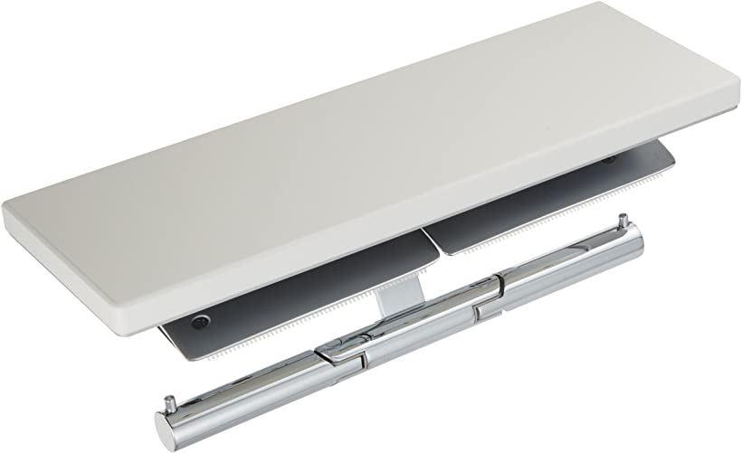 二連紙巻器 棚付き 天然木 メタル製 芯棒可動式(ホワイト)
