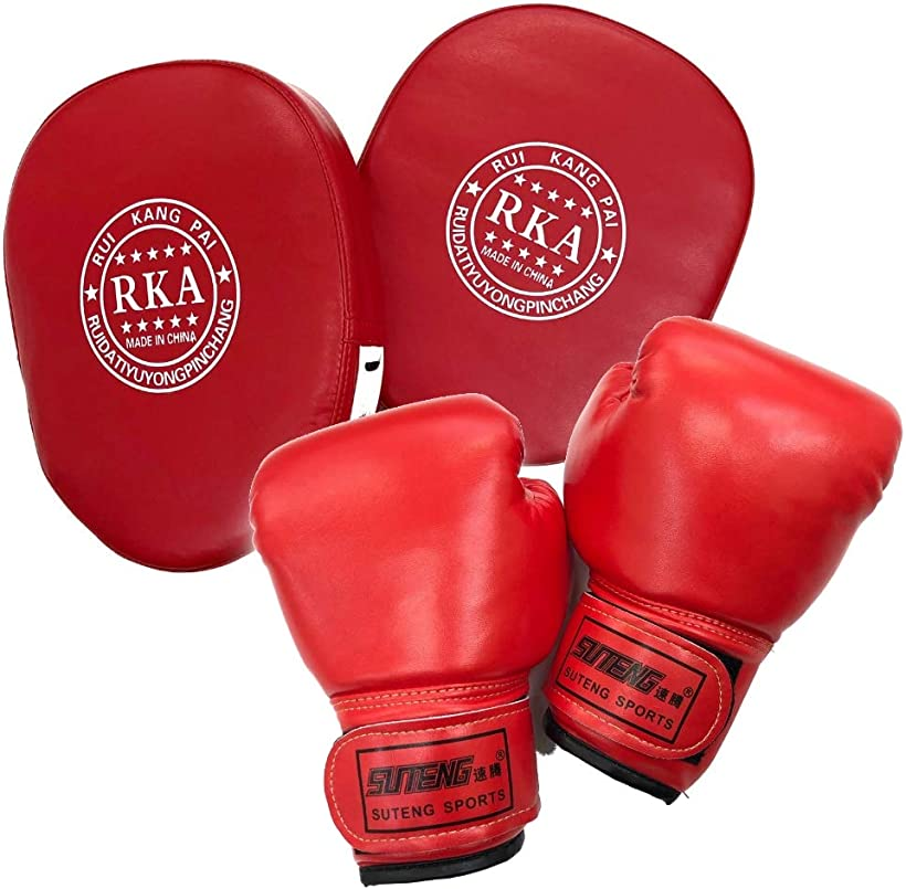 Gran Roi  Gran Roi ボクシング グローブ ミット キック ムエタイ 空手 格闘技 子供用 親子 赤グローブx赤ミット2個セット MDM(赤グローブx赤ミット2個セット)