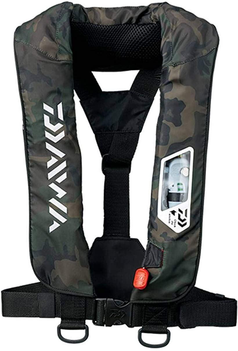 ライフジャケット ウォッシャブル 肩掛けタイプ手動・自動膨脹式 DF-2007(グリーンカモ, フリー)