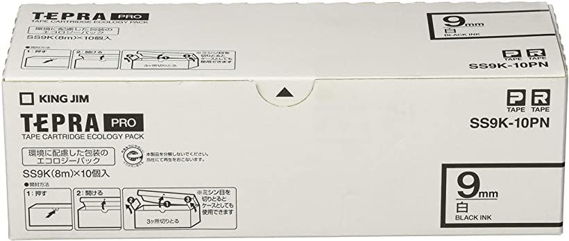 PROテープ エコパック 白ラベル 9mm 10個パック SS9K-10PN
