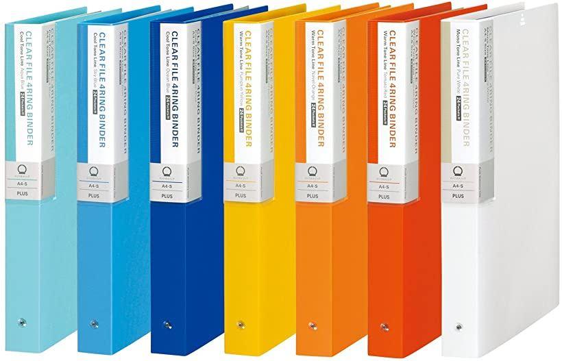 ファイル クリアファイル A4 4穴 24ポケット 背幅35mm デジャヴ 全7色セット