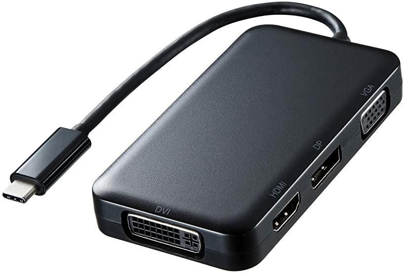 USB Type C-HDMI/VGA/DVI/DisplayPort変換アダプタ AD-ALCHVDVDP(ブラック)