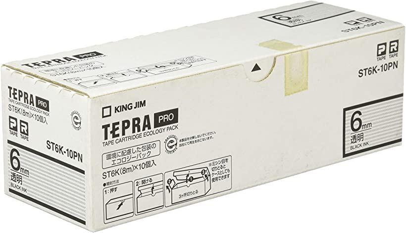 テプラPRO テープカートリッジ エコパック10個入 6mm 透明 ST6K-10PN