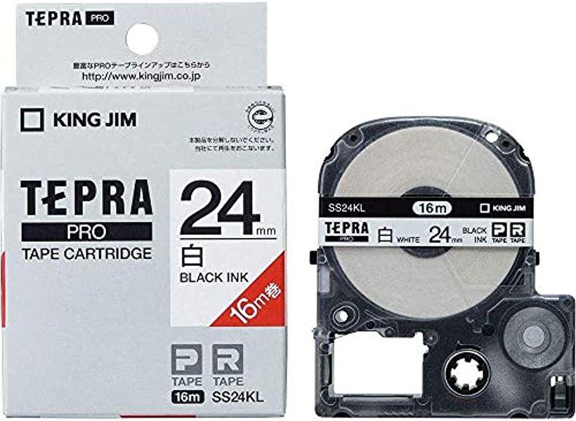 テプラ PROテープ ロング白色黒字24mm5個入