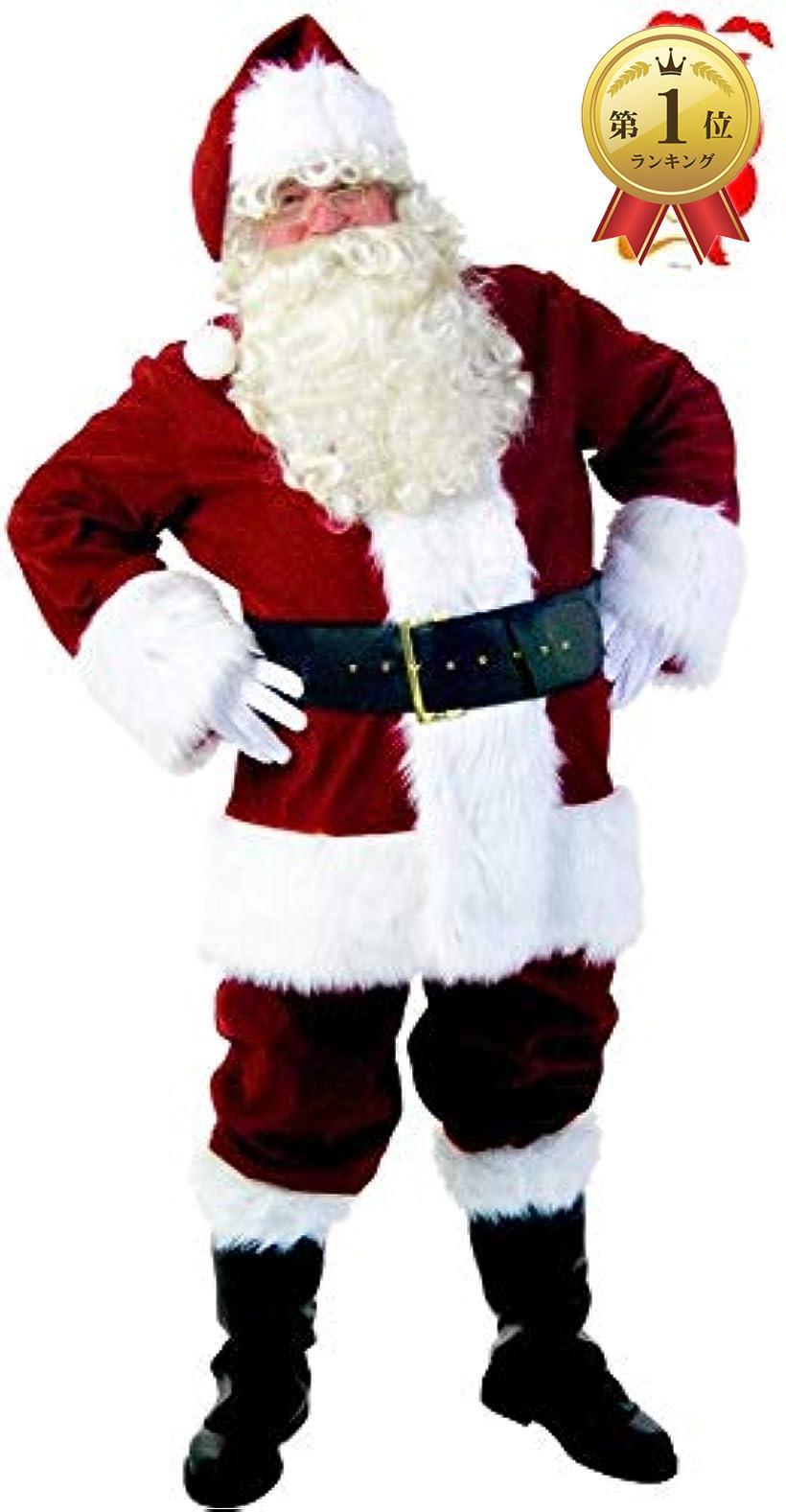 豪華本格11点セット サンタ コスプレ メンズ サンタクロース コスチューム クリスマス ボディシール付き S711(Mサイズ)