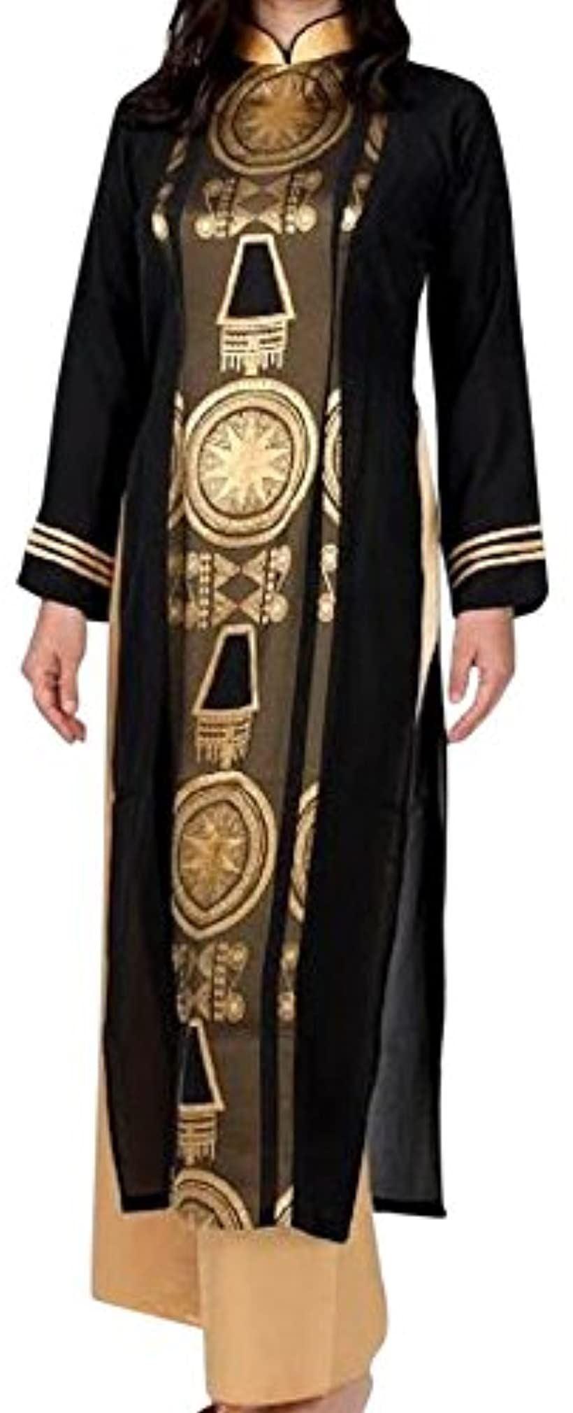 アオザイ ベトナム 民族 衣装 襟付き 長袖 レディース 黒 XL(ゴールド, XL)