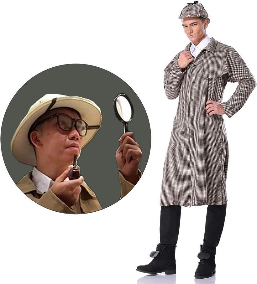 探偵 コスプレ 衣装 メンズ コスチューム コート 帽子 虫眼鏡 パイプ 4点セット XLサイズ(XL)