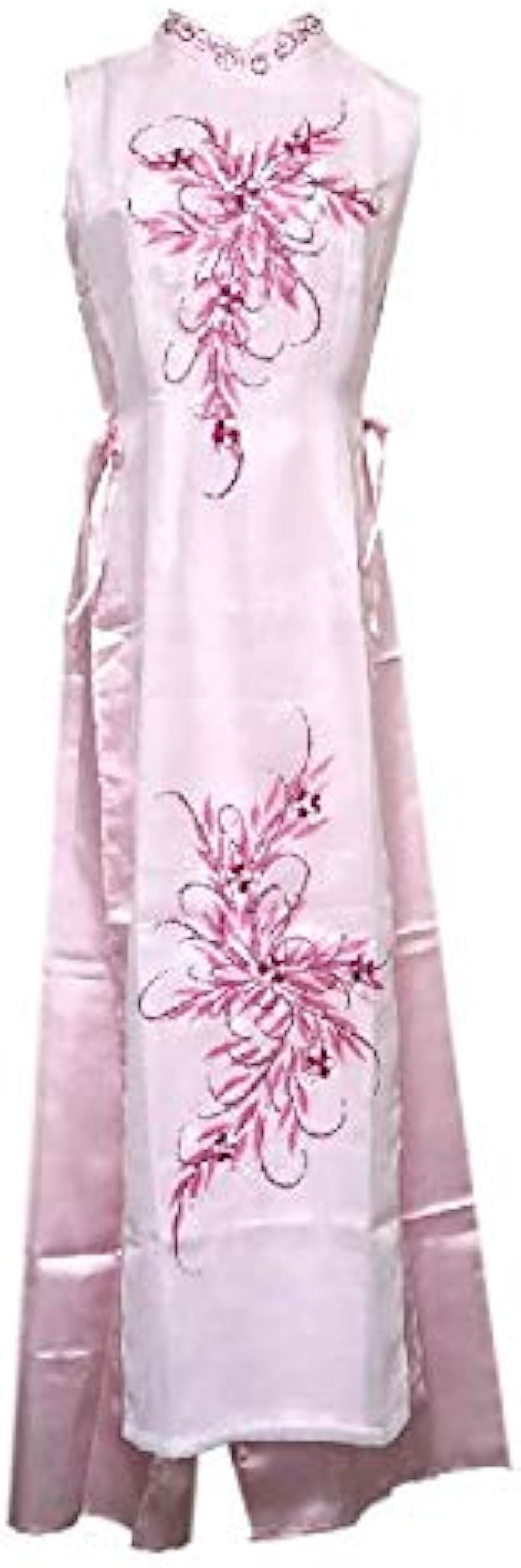 ベトナム 民族 衣装 アオザイ 襟付き 袖なし レディース パンツ(ピンク, XL)