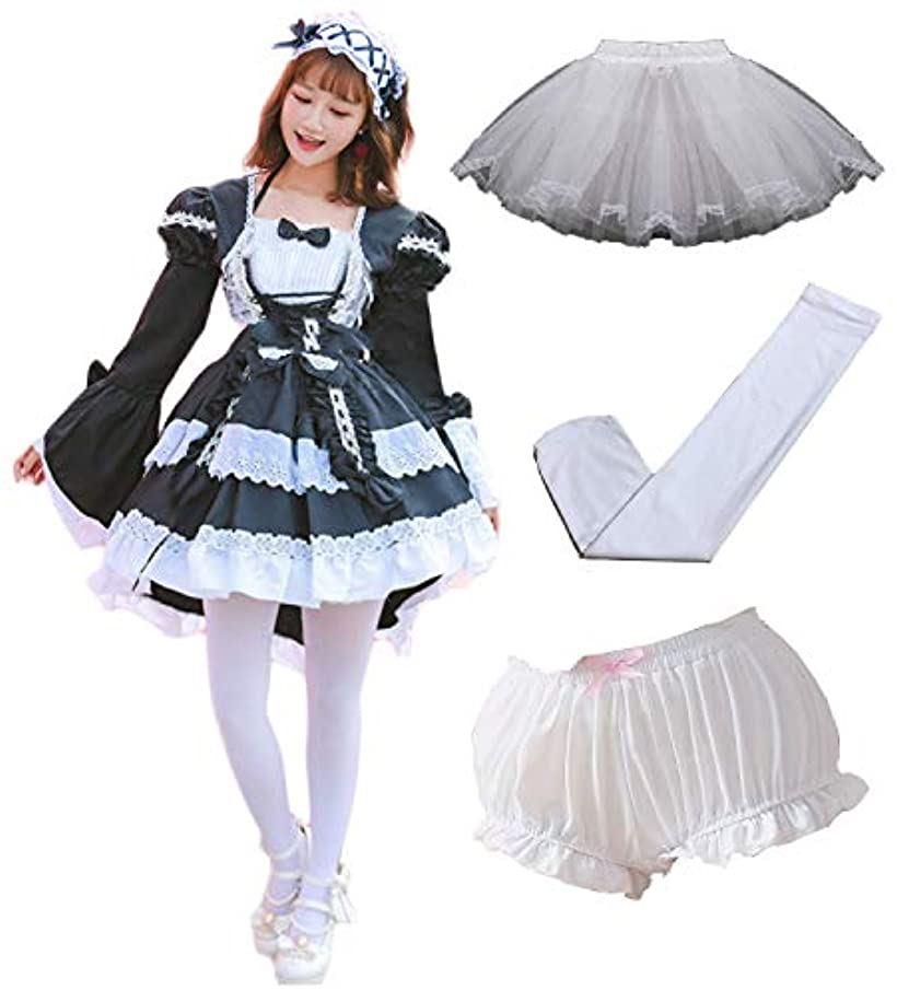 メイド服 コスプレ 衣装 ハロウィン レディース ゴスロリ ワンピース(ブラック×ホワイト, フリーサイズ)