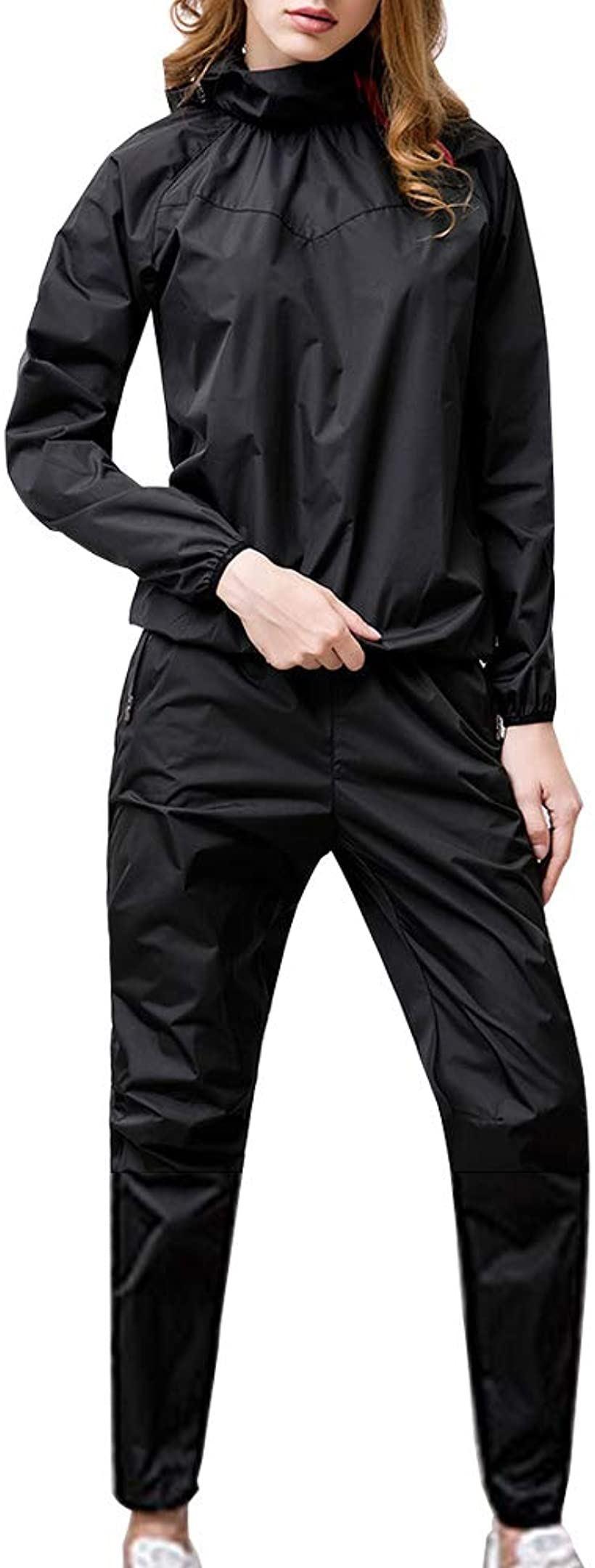 サウナスーツ ダイエットスーツ 大量発汗 大きいサイズ トレーニングウエア L(ブラック, Large)