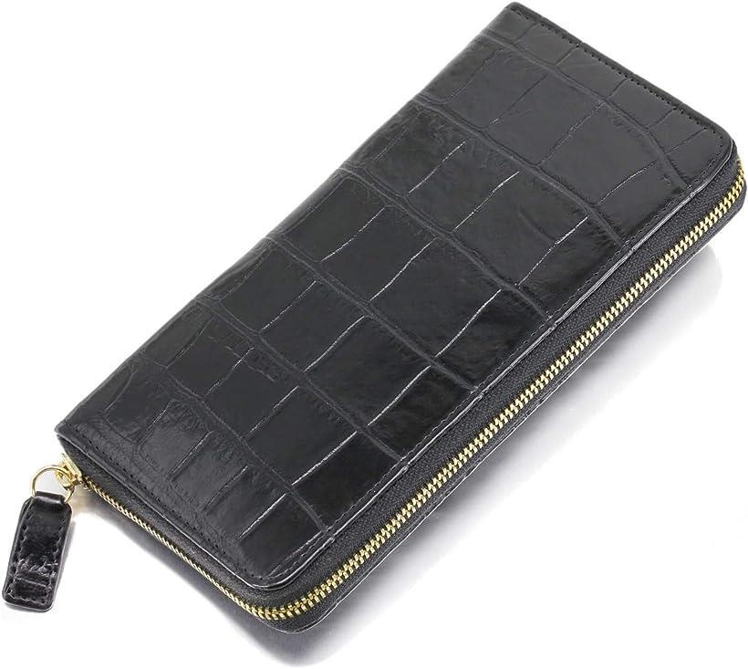 クロコダイル 長財布 ワニ 革 レザー 一枚革 内側 牛皮 本革 ラウンドファスナー ウォレット 黒 マット メンズ(ブラック)