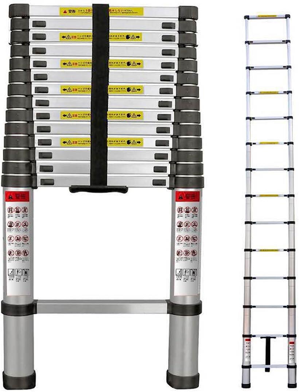 伸縮はしご 耐荷重150kg スーパーラダー コンパクト 持ち運びやすい 伸縮自在 自動ロック スライド式 アルミ 梯子(シルバー, 5M)