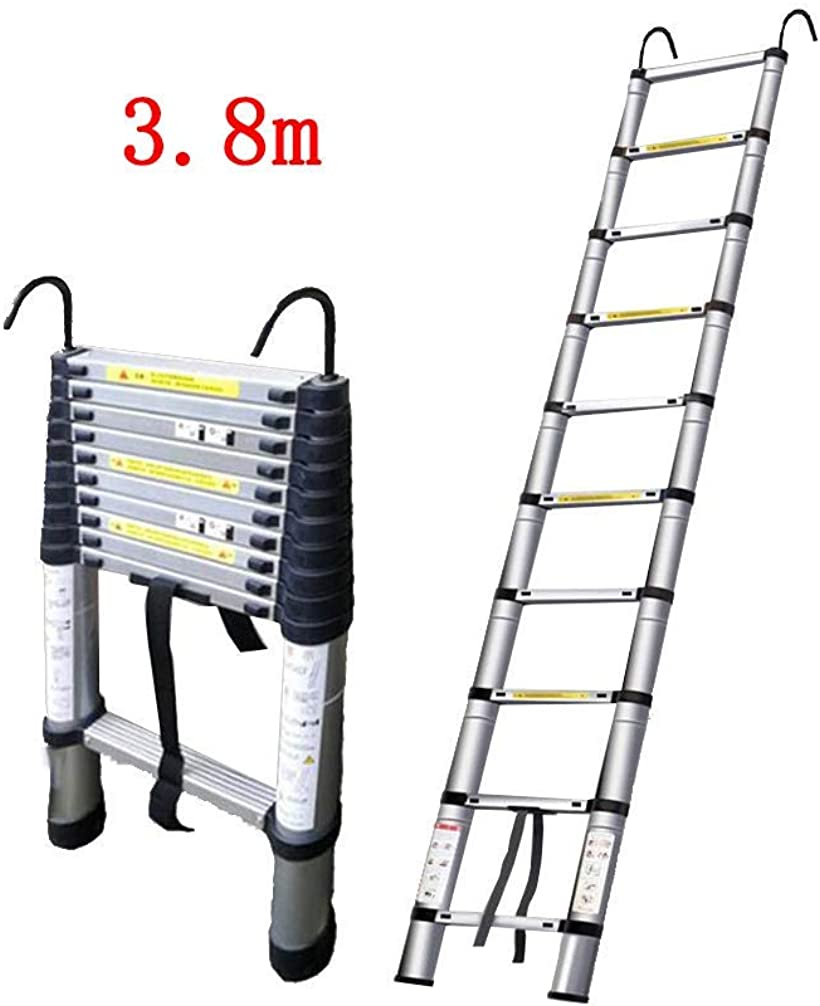 伸縮はしご 耐荷重150kg スーパーラダー コンパクト 持ち運びやすい 伸縮自在 自動ロック スライド式 アルミ 梯子(シルバー, 3.8Mフック付き)