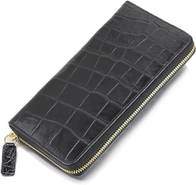 クロコダイル 長財布 ワニ 革 レザー 一枚革 内側 牛革 本革 ラウンドファスナー ウォレット 黒 マット メンズ(ブラック)