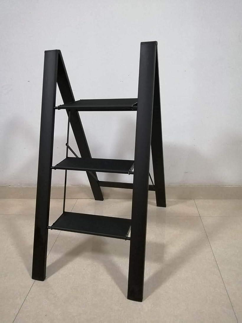 ONE STEP スタイリッシュ 脚立 アルミ 薄型踏み台 折りたたみ おしゃれ 軽量 折りたたみ脚立 ステップ台 ラダー はしご 梯子 黒色(スタイリッシュ3段 黒色)