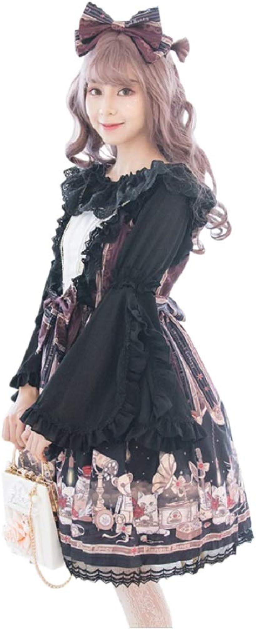 ゴスロリ ドレス コスプレ 衣装 ワンピース ブラウス 宮廷服 ハロウィン e311(ブラック, L):OHstore