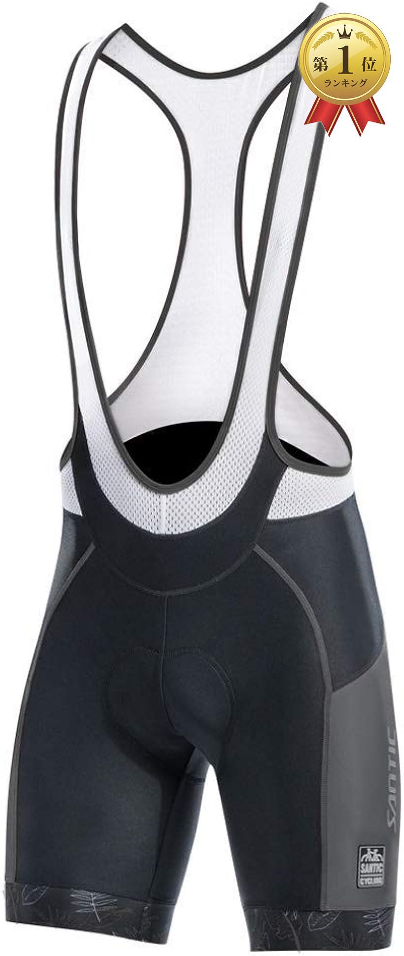 トレンド Santic サンティック メンズ ビブショーツ ビブパンツ サイクルパンツ グレー+ホワイト Medium 安心と信頼 吸汗速乾 3Dパッド付き 自転車