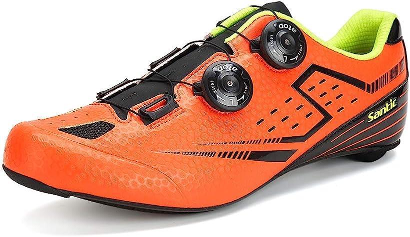 メンズ ビンディングシューズ カーボンソール ロードバイク サイクリングシューズ 超軽量 2A(オレンジ, 27.5 cm 2A)