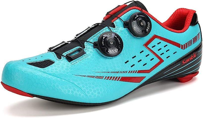 メンズ ビンディングシューズ カーボンソール ロードバイク サイクリングシューズ 超軽量 2A(ブルー, 25.5 cm 2A)