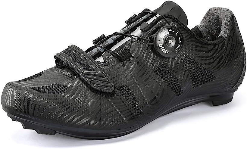 メンズ ビンディングシューズ カーボンソール ロードバイク サイクリングシューズ 超軽量 2A(ブラック, 26.0 cm 2A)