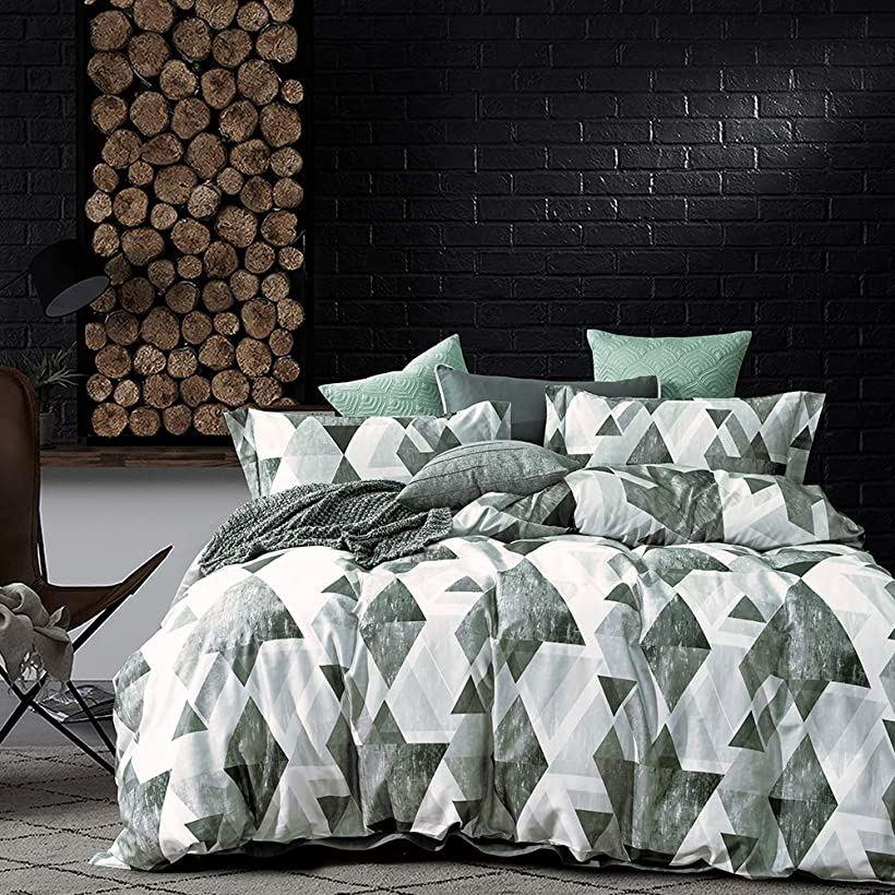 エジプト超長綿100% 布団カバー 4点セット :掛布団カバー ボックスシーツ 枕カバー*2 / 肌ざわりが良い 通気性に富んで 毎日の快眠で元気に過ごしたい方に シングル・Enos(Enos, シングル)