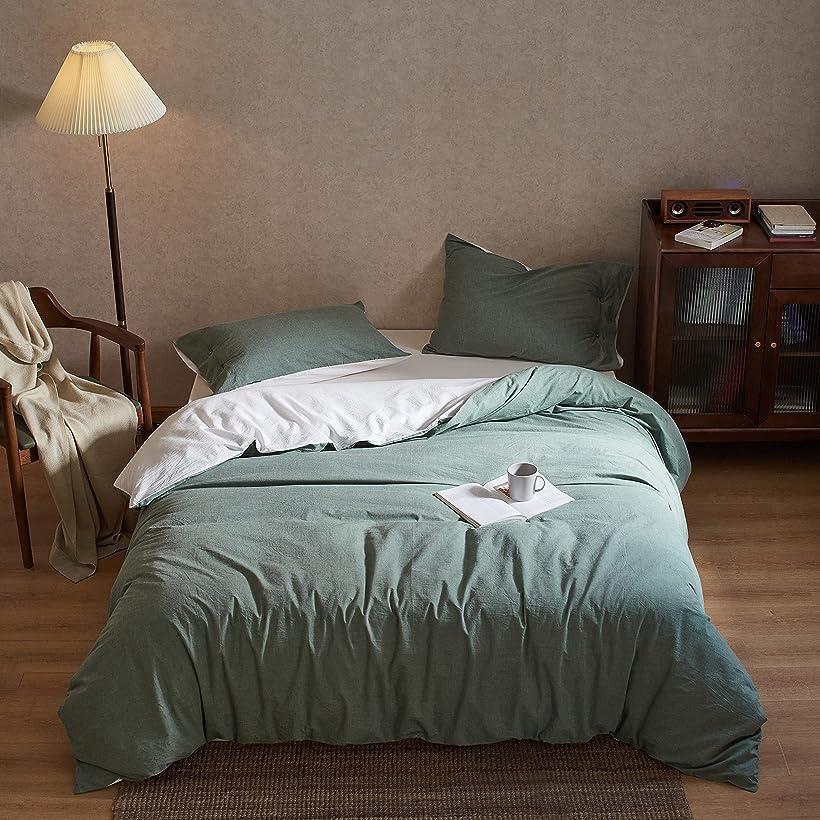 洗いざらし綿100% 布団カバー 4点セット 洋式・和式兼用 :掛布団カバー ボックスシーツ 枕カバー*2 / 柔らかく 変形しにくく 色あせず ダブル・グリーン(グリーン, ダブル)