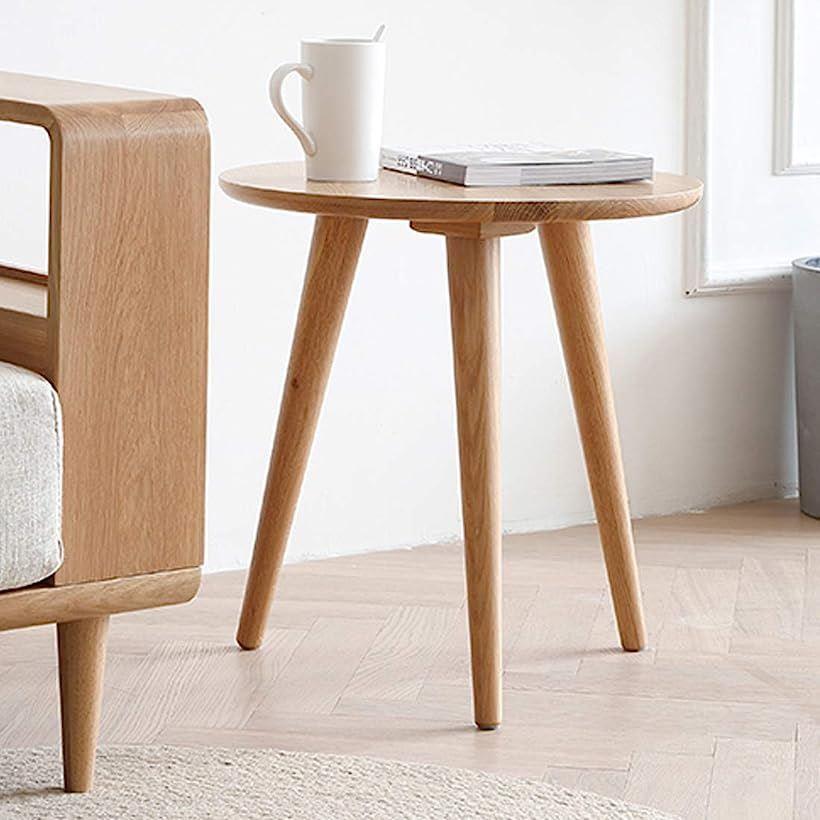 ソリッド オーク モーデン サイド エンド テーブル S サイズ ラウンド コーヒー ソファ ランプ ベッドサイド リビング ルーム オフィス 家具用 MDM(60x60x65cm)