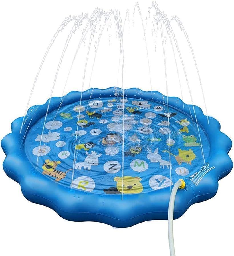 Asamoom ビニールプール 噴水マット 26の文字と対応する単語こども用 噴水おもちゃ プレイマット プール噴水 人気ブレゼント 大型プールマット 芝生遊び 夏の庭 上品 みずあそび 暑さ対策 直径170CM