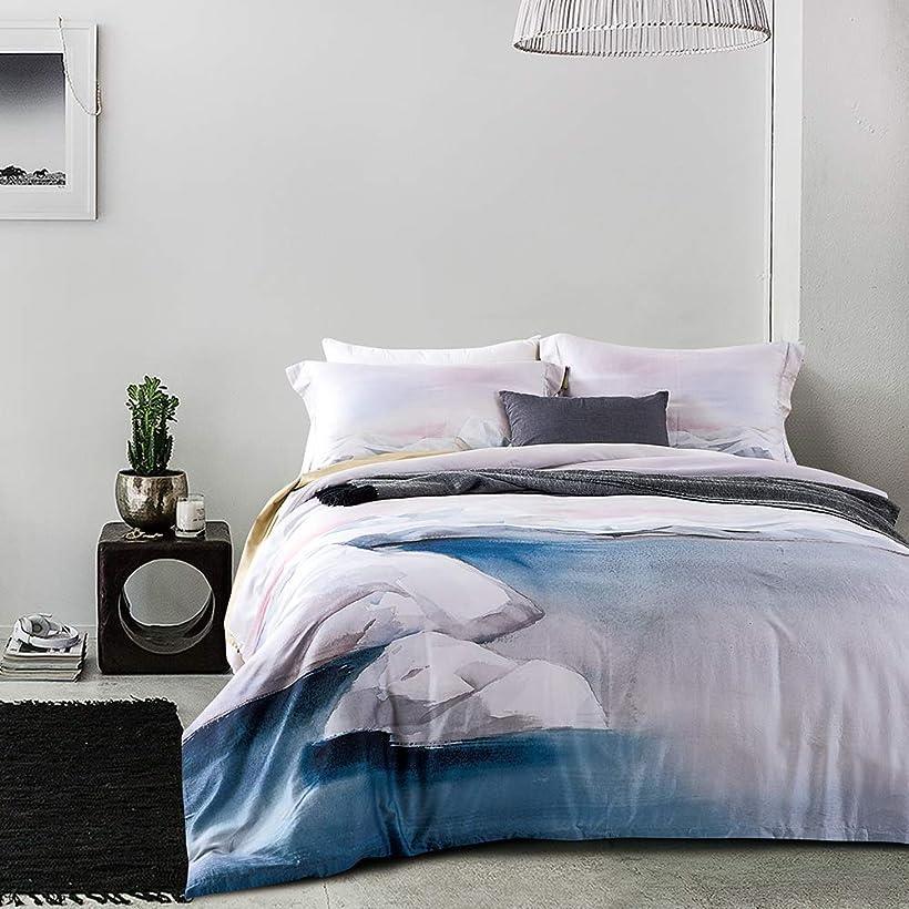 エジプト超長綿100% 布団カバー 4点セット :掛布団カバー ボックスシーツ 枕カバー*2 / 肌ざわりが良い 通気性に富んで 毎日の快眠で元気に過ごしたい方に セミダブル・Wedel(Wedel, セミダブル)