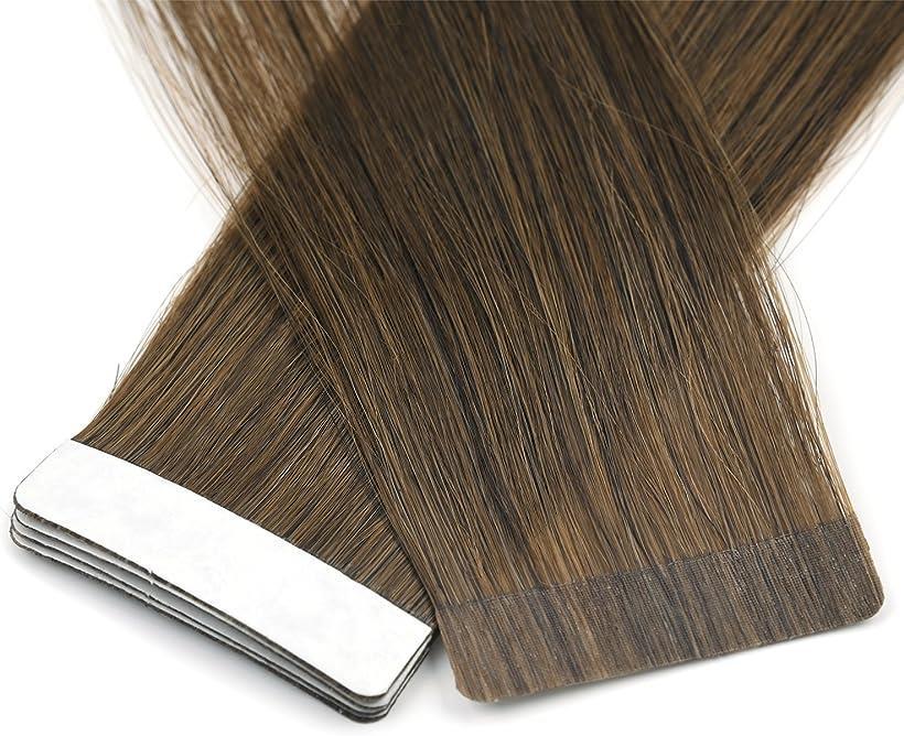 Vlasy 人毛 ウィッグ シールエクステ 付け毛 大幅値下げランキング グラデーションウィッグ 即出荷 8# 長さ40cm 16inch 10枚