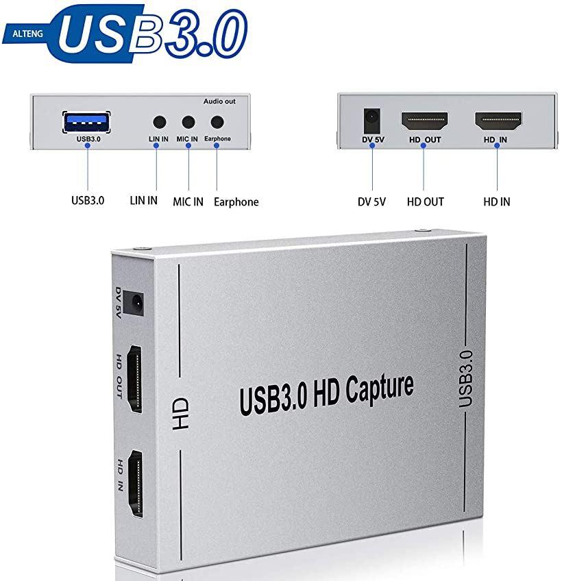 ALTENG 2020最新バージョン キャプチャーボード ビデオキャプチャー HDMI ゲームキャプチャー ps4軽量小型 USB3.0 本店 HD1080P 60FPS OS WEB限定 OBS 銀色 Linux Windows PC ゲーム録画 X対応 携帯電話用
