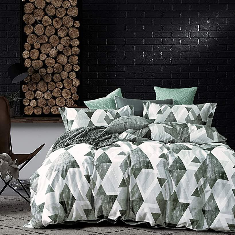 エジプト超長綿100% 布団カバー 4点セット :掛布団カバー ボックスシーツ 枕カバー*2 / 肌ざわりが良い 通気性に富んで 毎日の快眠で元気に過ごしたい方に ダブル・Enos(Enos, ダブル)