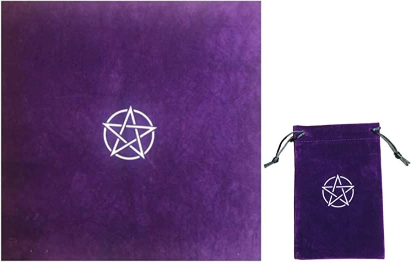 当店一番人気 Kurop ペンタグラム タロットクロス 受注生産品 50cmx50cm 五芒星 刺繍 2点セット ポーチ 紫