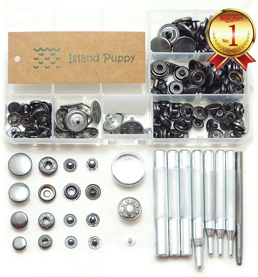 Puppy Craft Island 送料無料激安祭 選べるカラー バネ ホック ジャンパー ブラック 工具 4サイズ レザークラフト + 打ち具 通信販売