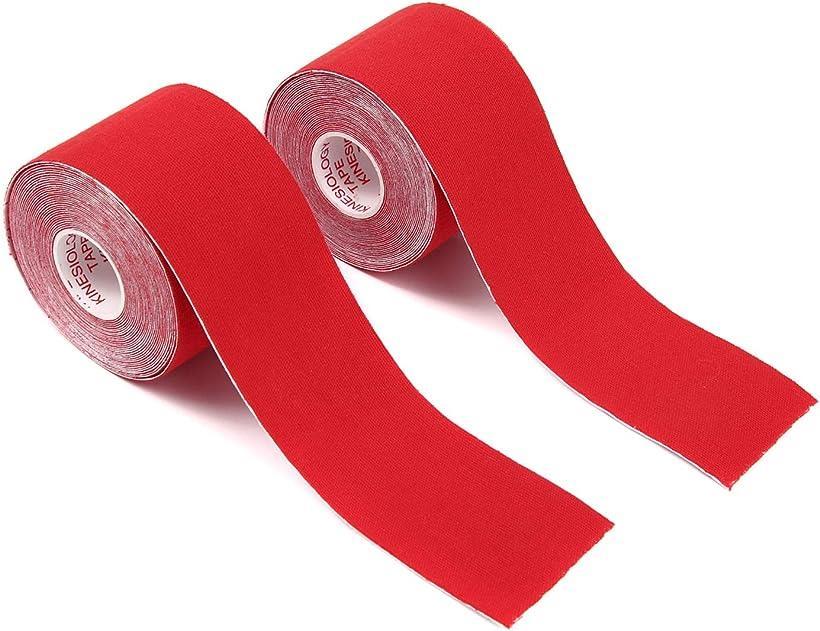 M Boo 高級 テーピングテープ キネシオロジーテープ 2巻入 サポート x 春の新作続々 5m 5cm 通気性伸縮性汗に強い レッド