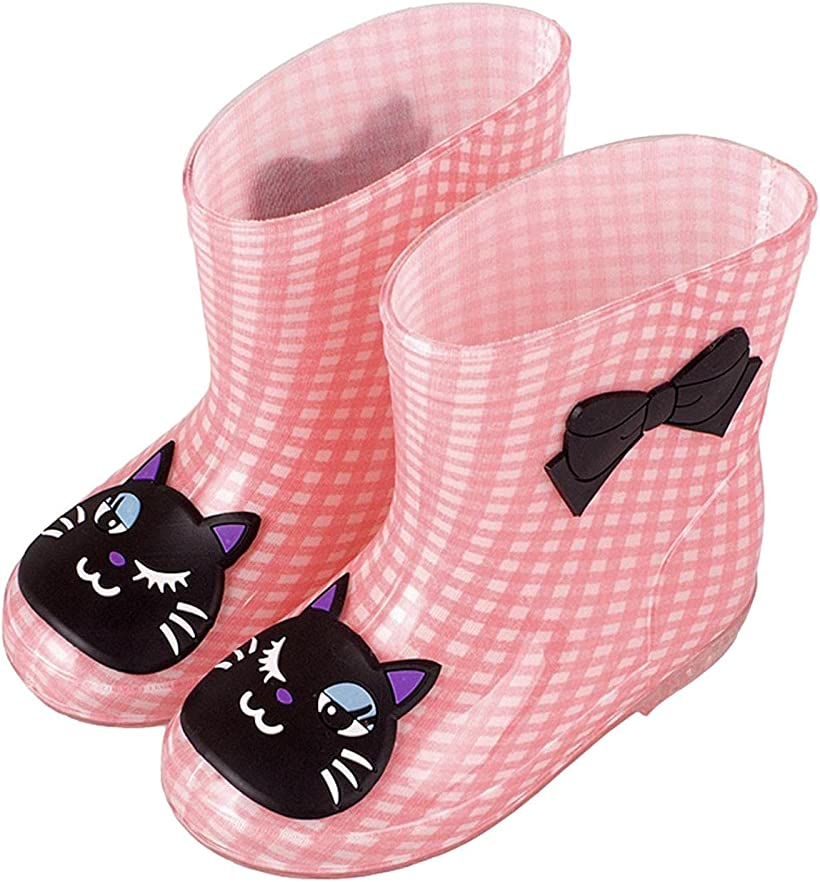 Coco Mary ココマリ キッズ スーパーセール 用 長靴 女の子 男の子 新作入荷 レインブーツ 子供 おしゃれ cm 17.0~18.0 ショート 17-18cm, 雨靴 かわいい 男女兼用 長ぐつ ネコxライトピンク