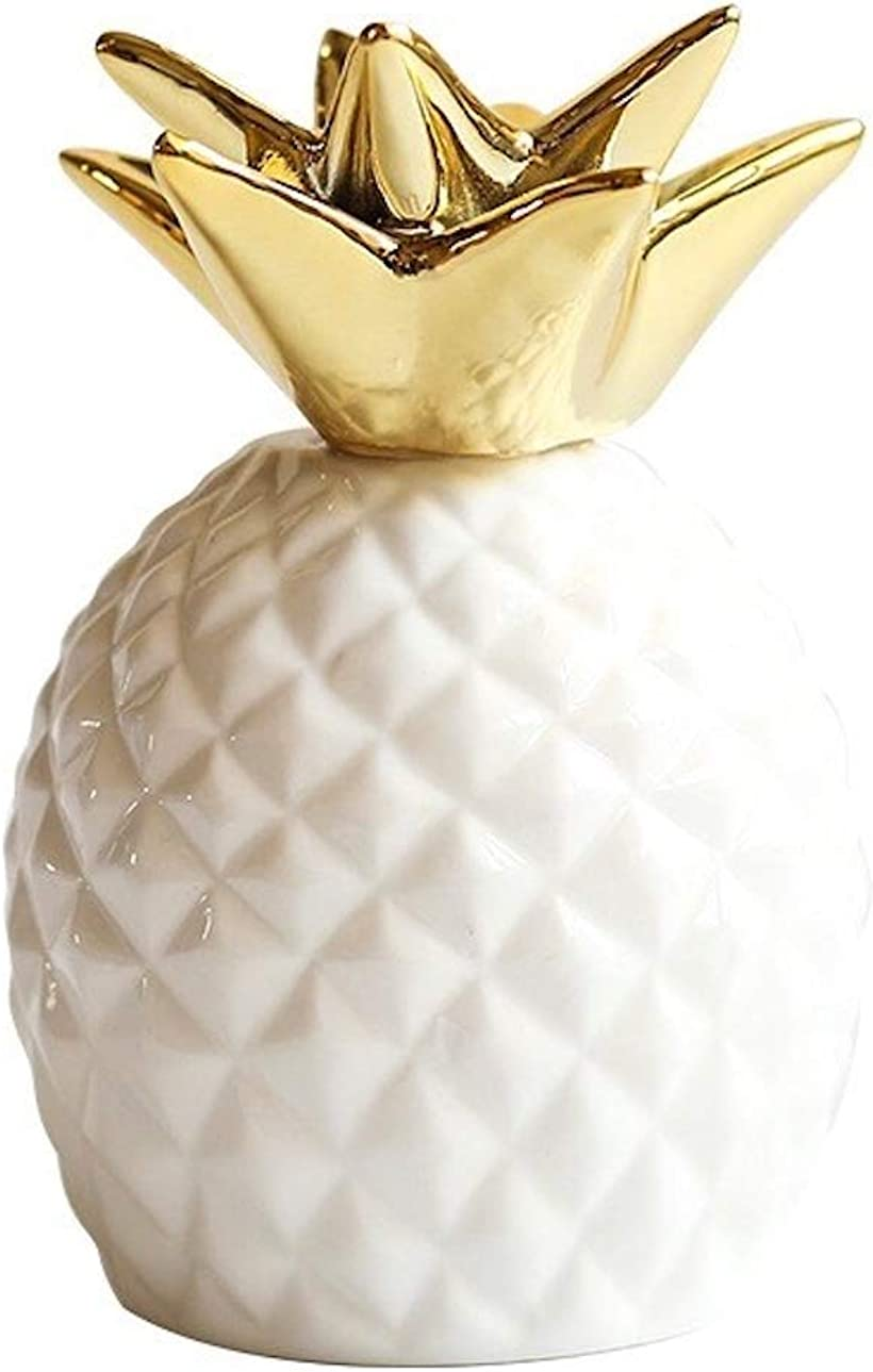 Queen-b パイナップル 貯金箱 かわいい 北欧 セラミック 雑貨 インテリア 置物 年中無休 オブジェ 横8cm x 新作販売 ホワイト 縦13cm 室内 卓上 装飾 デスク