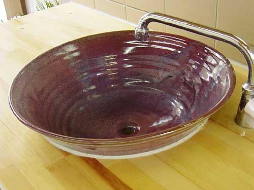 和のぬくもり★オシャレな陶器の手洗い鉢・紅時雨釉(べにしぐれゆう)