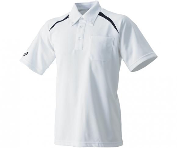 SSK エスエスケイ ボタンダウンポロシャツ 国内在庫 ホワイト×ネイビー 超目玉 左胸ポケット付
