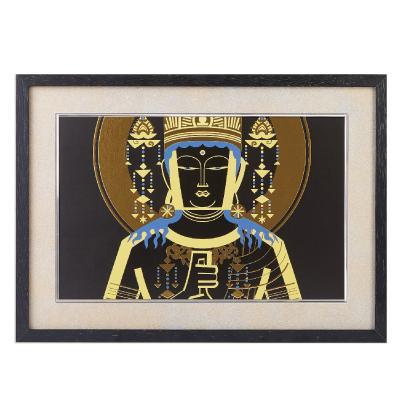 送料無料 イスム HAKUジクレ pop'n Buddha 大日如来 ジグレー版画 アクリルカバー