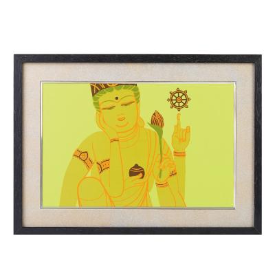 送料無料 イスム HAKUジクレ pop'n Buddha 如意輪観音 ジグレー版画 アクリルカバー