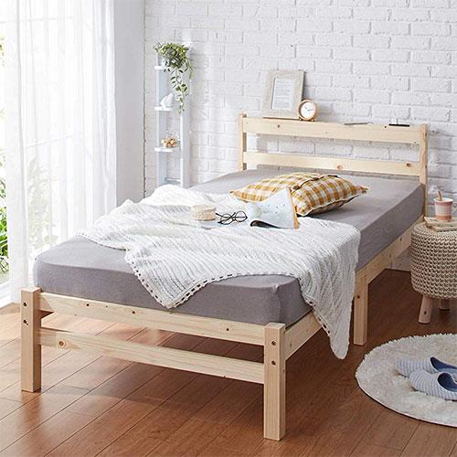 すのこベッド シングル 宮付き コンセント付 頑丈 シンプル 天然木フレーム