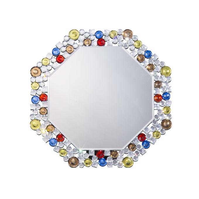 送料無料 鏡 壁掛け 八角形 ミラー 風水 八角鏡 カラフル