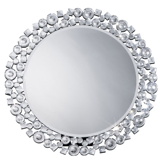 送料無料 鏡 壁掛け 丸型 ミラー クリスタル