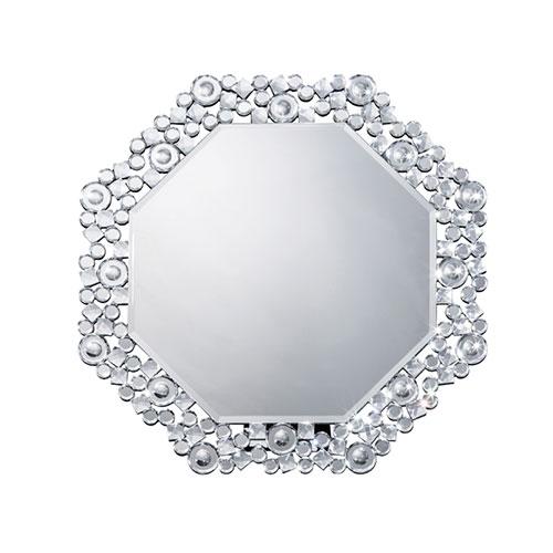 送料無料 鏡 壁掛け 八角形 ミラー 風水 八角鏡 クリスタル