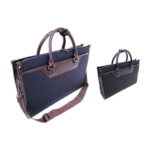 送料無料 ビジネスバッグ #0424 A4ファイル対応 ストライプ柄のベイシックなビジネスバッグ ショルダーベルト付