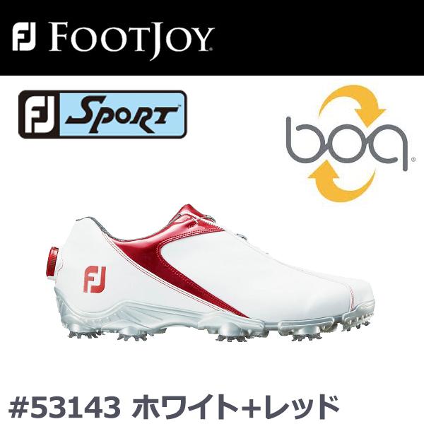 【2018年モデル】【取り寄せ商品】【フットジョイ】FJ メンズ ゴルフシューズFJ SPORT Boa #53143 ホワイト+レッド 【FOOTJOY】【日本正規品】【ウィズ:W】