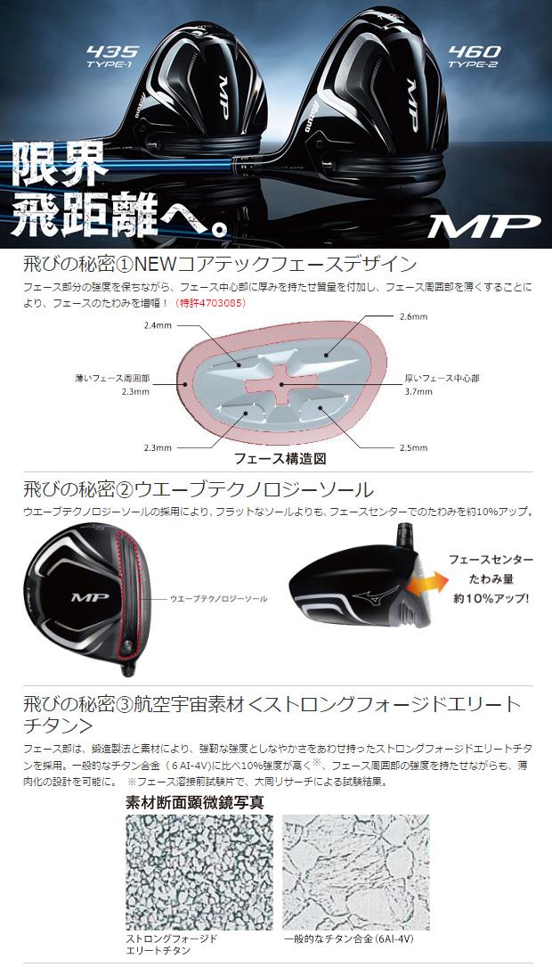 【カスタム対応】【2017年モデル】【ミズノ】MP 460 TYPE-2 DRIVERアップライ ドライバーTourAD クアトロテック カーボンシャフト【MIZUNO】【日本正規品】