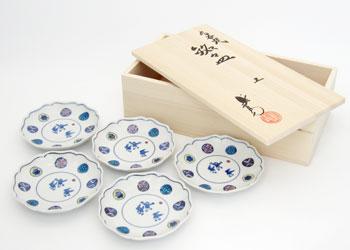 丸紋遊童子 花型 銘々皿 5枚組