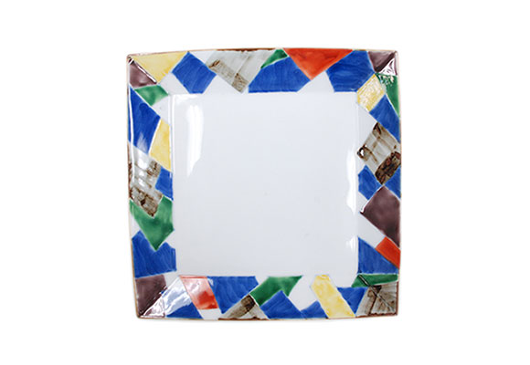 染錦重ね折紙 正角8寸皿